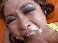 Mia Rider foams with spit as her face is pummeled