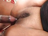 A classy black BBW slides rapidly along the dick