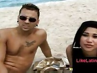 Guy tries to pick up a latina at the beach