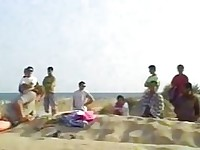 Swinger outdoor beach gang bang