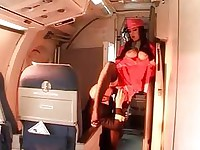 Stewardess shows how to perfect ride on a cock