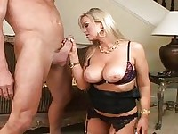 Busty blonde MILF sucking a dick and fucking