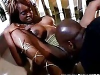 Big black rod for young busty black girl
