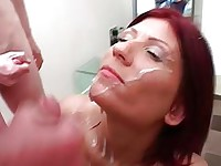 Redheads face takes a cum creaming