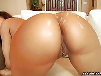Meaty hot bitch Catalina Rose gets her bouncy butt sprayed with milky warm jizz