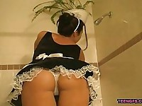 Teen Girlfriend in French Maid Outfit Blows Her Lover