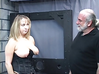 Old man dom pulls chubby sub's hair and smacks her big tits
