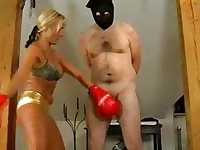 Boxing girl is beating a guy up