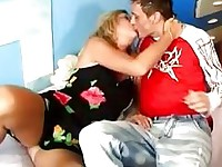 Blonde sluty mature moma gets nailed by horny boy on bed