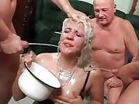 Nasty bitch in extreme pissing action