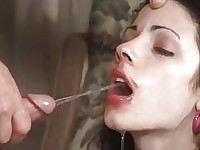Filthy bitch Chloe Adams sucks on a cock before getting a faceful of hot piss