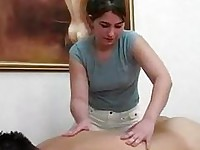 Hot massage handjob and cumshot ending