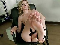 Blonde showing off her sexy feet