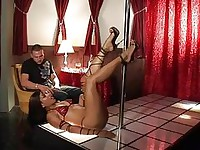 Hairy pussy stuffed after pole dance