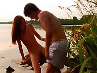 See wonderful teen pounding taking place in the nature