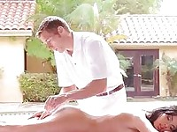 Massage slut body rubbed horny before getting fucked