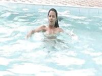 Softcore Masturbating Fun with Latinas at The Pool