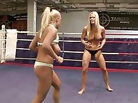 Sexy busty blondes fighting