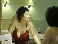 Short haired brunette milf gets into a amazing sex in hotel room