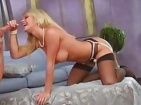 Blonde babe Bree Olson has her twat thumped with cock before drinking nut juice