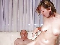 Old fart licks brunette and fucks her ass