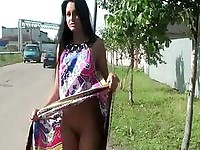 Russian teen plays with her tits & pussy on public