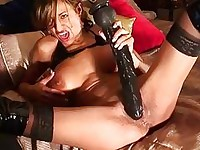 Sandi Squirts rides a HUGE toy!