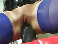 Amateur whore destroys her cunt with a giant dildo