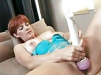 Red hot momma Calliste pounds her snatch with toys and sucks cock