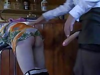 Strapon armed waitress readily working