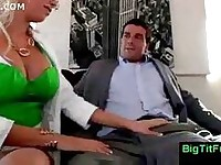 Blonde boss lady with big round tits loves to give head