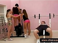 Cfnm in the gym with three girls