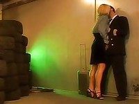 Stewardess is down on her knees for hot blowjob