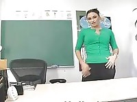 Hot and sexy brunette teacher toys her fanny
