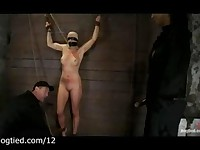 Blindfolded bound to wooden wall babe gets pussy vibrated