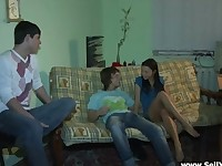 Hot Brunette Teen Fucked on the Couch