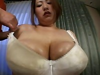 BBW japanese woman gets her tits and belly fondled and moans