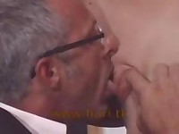 Glasses Old Man Licking Pussy