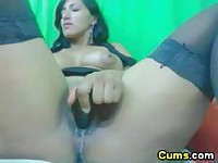 Dildo fucking made her squirt so much