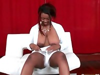 Busty ebony bitch gets horny sucking