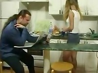 Petite girlfriend seduce Old man in Kitchen