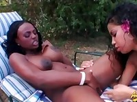 Busty ebony babe gets her pussy licked