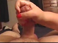 Wife gives slow handjob with ruined orgasm
