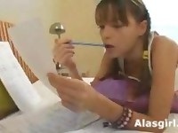 Podrostk russian beauty teen gets fuck while studing 1