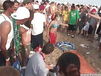 Hard party time on the beach and babes