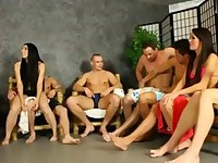 Horny bisexual group blowjob orgy