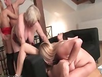 Horny skinny blonde chick jumps