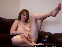 Mature amateur MILF granny working her old pussy at home