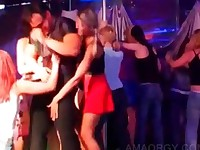 Hot strippers gets cocks sucked in a row at orgy