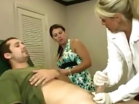 Hot doctor and MILF jerking off male together